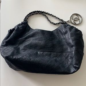 Chanel leather handbag with chain handles